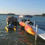 Waterside Kayak Lift and Dock Storage Rack mounted to a Brock Dock