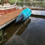 87# Fishing Kayak Stored in the DockSider Kayak LIft and Dock Storage Rack