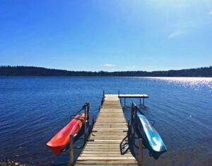 2 Kayak Dock Racks on Either Side of Dock